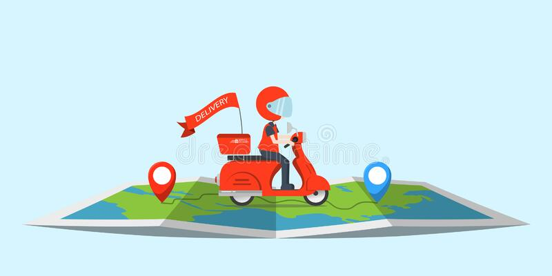 Descrição: Cute Fast Delivery Business Concept Vector Cartoon Illustration With  Scooter Motorcycle And Box Stock Vector - Illustration of object, courier:  155583017